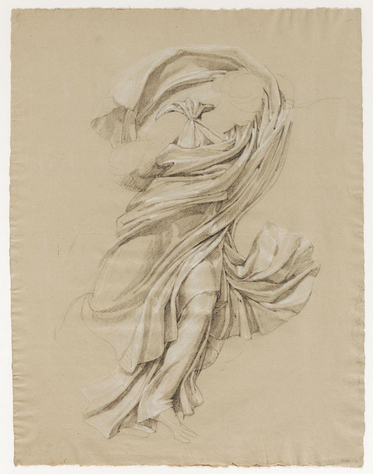 Jacques Réattu - Plafond du Grand-Théâtre de Marseille, étude de draperie pour une muse Arles, 1819. pierre noire avec rehaut de craie blanche. 59,2 x 44,6 cm