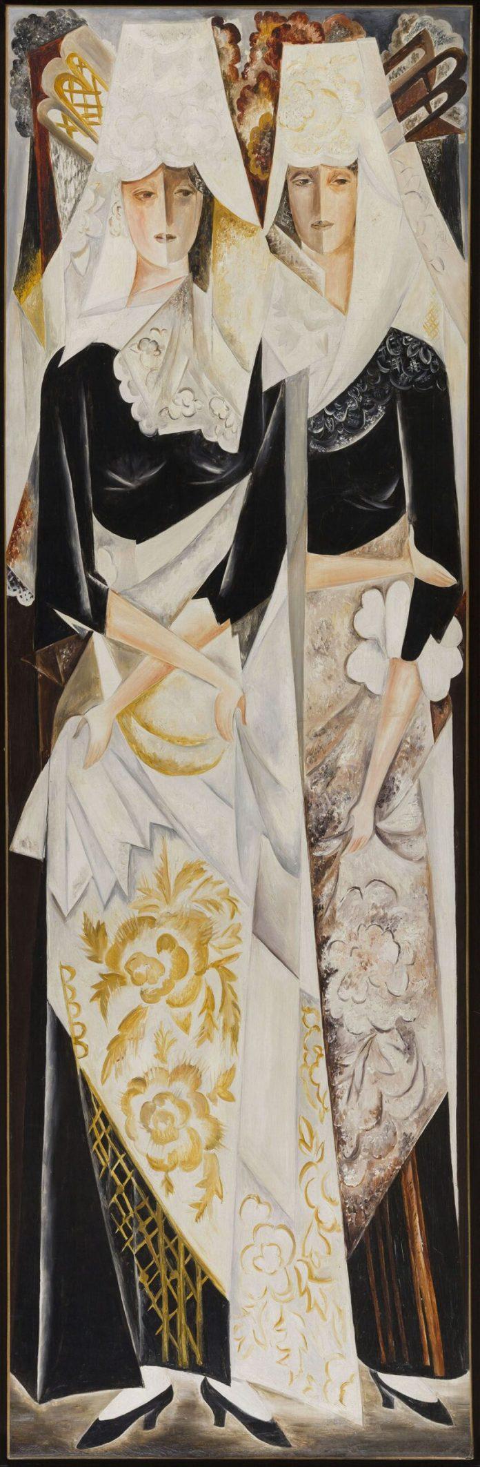 Natalia Gontcharova, Deux femmes espagnoles (troisième élément du polyptique Les Espagnoles), 1920-1924 Nathalie Gontcharova © Adagp, Paris, 2020 ; photo © Musée d'Art Moderne Roger-Viollet