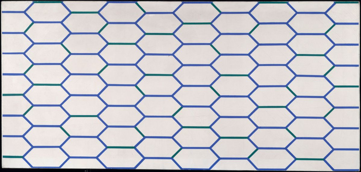François Morellet, Hexagones à côtés bleus et verts, 1953