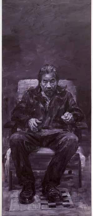 Yan Pei-Ming - Autoportrait en trois personnes, 2020 (détails du triptyque) © Yan Pei-Ming, Adagp, Paris, 2021 - Photo André Morin