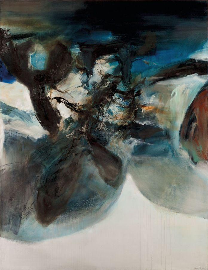 Zao Wou-Ki - 01.10.73, 1973, Huile sur toile, 260 x 200 cm, Collection particulière, © Adagp, Paris, 2021, photo Courtesy Christie's