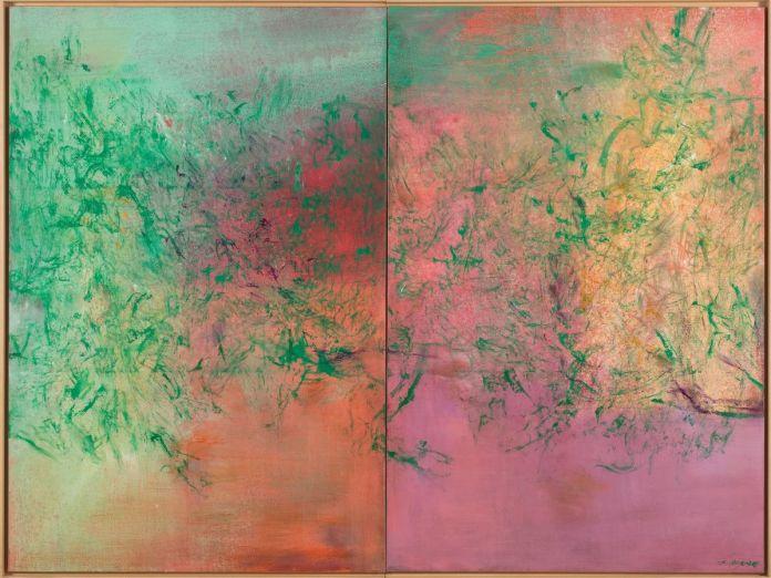 Zao Wou-Ki - Il ne fait jamais nuit – Diptyque, 2005, Huile sur toile, 195 x 260 cm, Collection particulière © Adagp, Paris, 2021, photo droits réservés