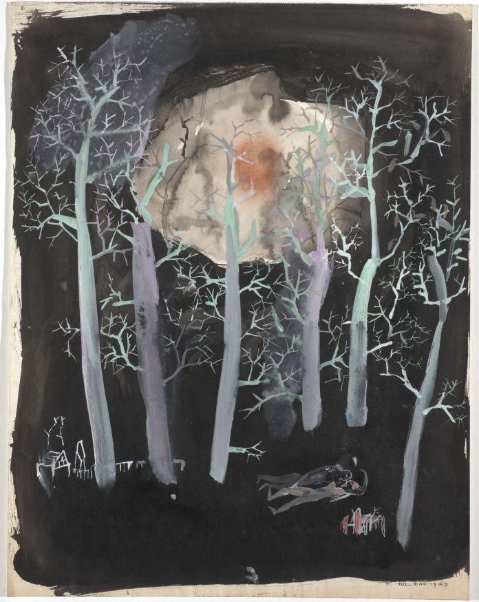 Zao Wou-Ki - Sans titre, 1949, Encre de Chine et gouache sur papier, 47 x 36,8 cm, Collection paticulière © Adagp, Paris, 2021, photo Antoine Mercier