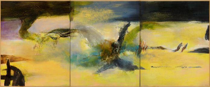 Zao Wou-Ki - Triptyque juillet-octobre 1997 - janvier 1998, 1997-1998, Huile sur toile, 200 x 486 cm, Collection paticulière, © Adagp, Paris, 2021, photo Naomi Wenger