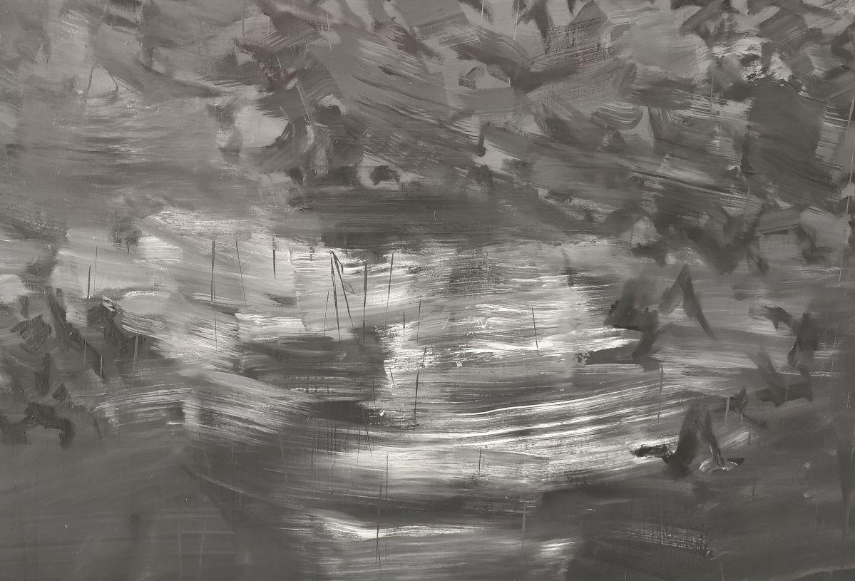 Yan Pei-Ming - Exode, 2020. Huile sur toile, Panneau 2 - détail 1