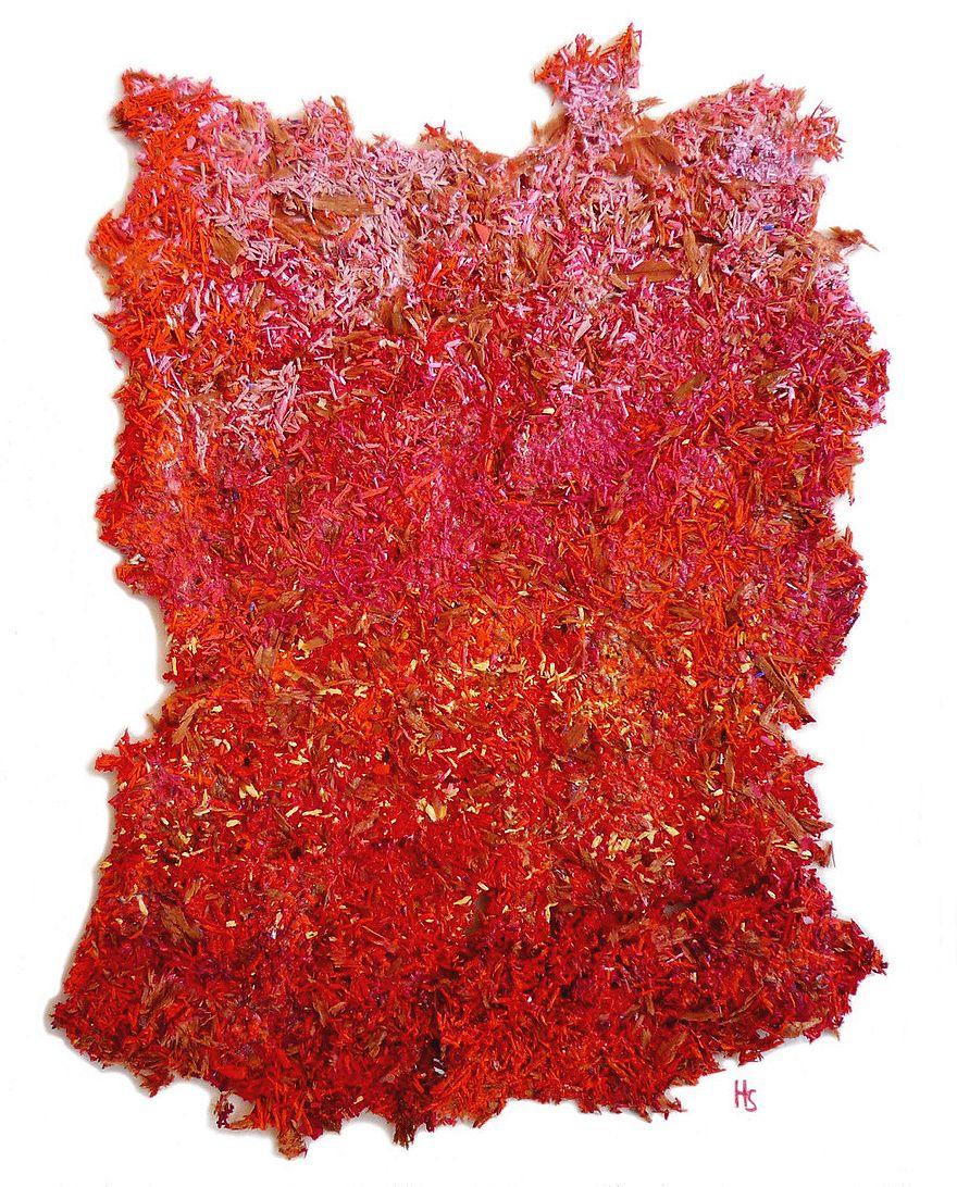 Helga Stuber Nicolas -Brisures de mines sur papier 10x14cm - Ralentir Travaux à la N5 Galerie – Montpellier. Photo N5 Galerie