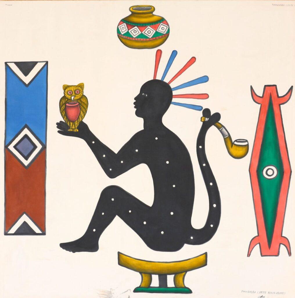 Cyprien TOKOUDAGBA - Génie du roi Guézo, 2005. Peinture acrylique sur toile. 155,4 x 155,4 cm. Collection Zinsou. Courtesy Fondation Zinsou -photo © Jean-Dominique Burton