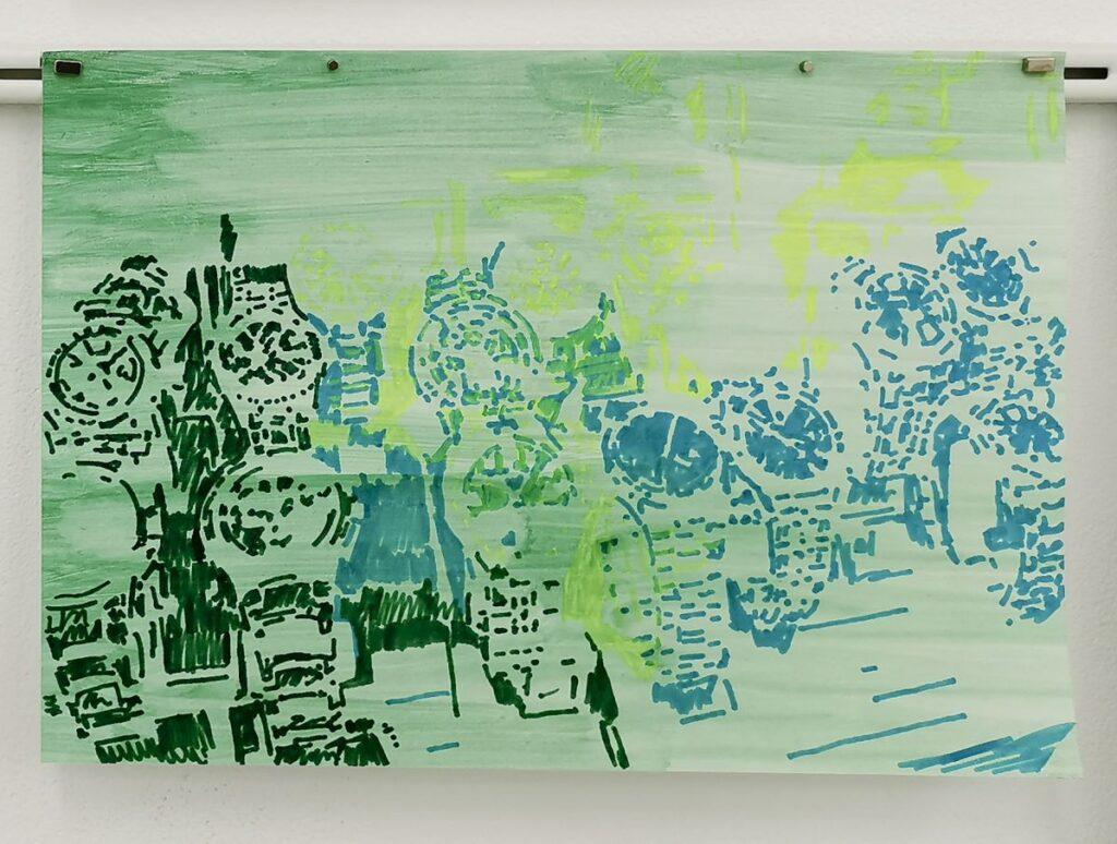 Katharina Schmidt - Dessin de la série Belsunce, Belsunce13_01 - Belsunce21_85, 2013 - 2021 - Vue de l'exposition Belsunce à art-cade - Marseille