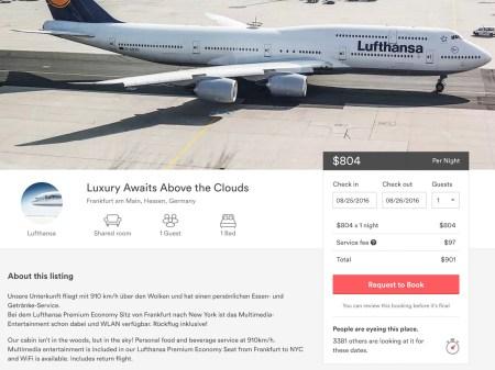 Lufthansa listing on Airbnb