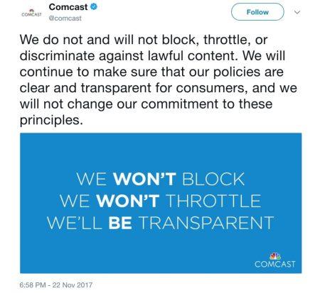 Comcast on Twitter® (November 2017)