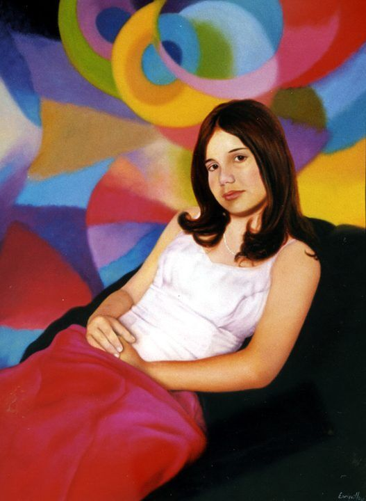 Commissioned portrait of Amanda Ferreira when she was a teen. Oil and acrylic painting on canvas. Enriquillo Amiama contemporary artist.