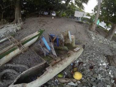 Un bateau de pêche sur l'île de Lelepa