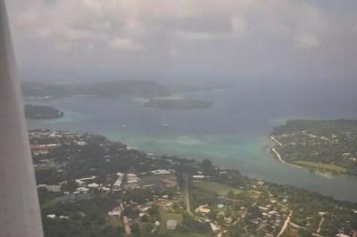 La baie de Port Vila vue du ciel