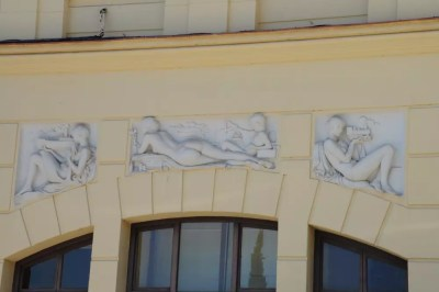 Sculpture sur la façade de la mairie de Malaga