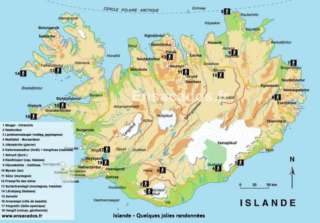 Carte Islande randonnées Trek Trail