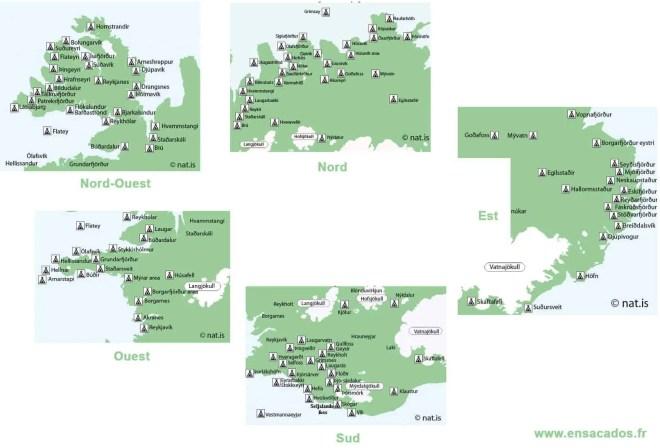 Islande : carte des campings