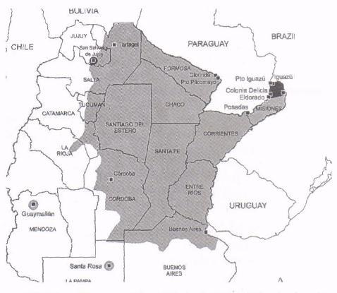 Mapa de distribución del dengue.