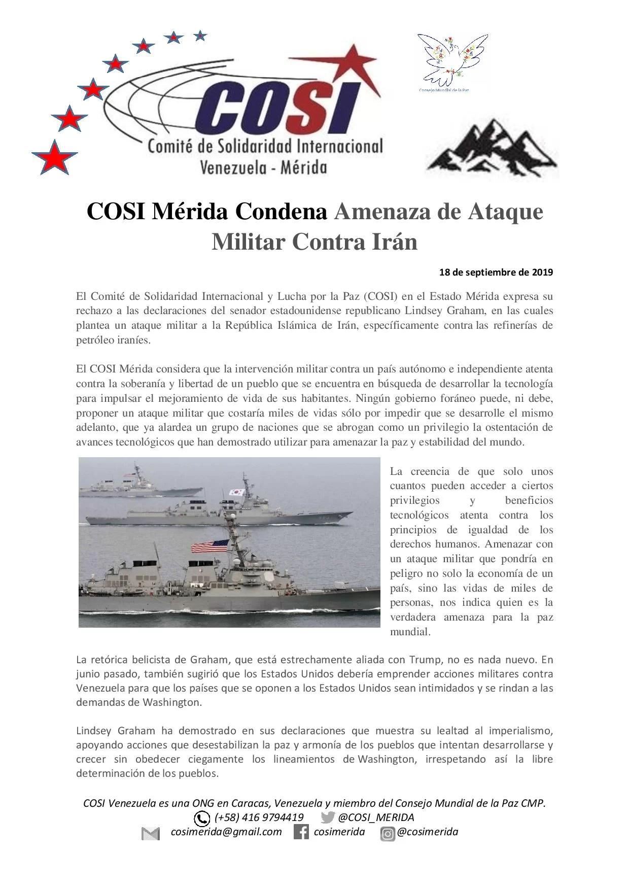 COSI Mérida Condena Amenaza de Ataque Militar Contra Iran