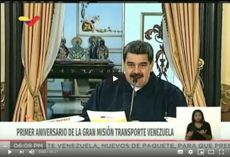 Presidente Nicolás Maduro en 1er aniversario de la Gran Misión Transporte Venezuela, 11 febrero 2020 (+Video)