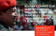 Lea el boletín extraordinario N° 211 del Partido Socialista Unido de Venezuela (PSUV)+Descarga