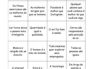 Parte de nosso acervo de jogos didáticos focados em aulas de português para estrangeiros, os estudantes são estimulados a concordar, discordar e opinar.