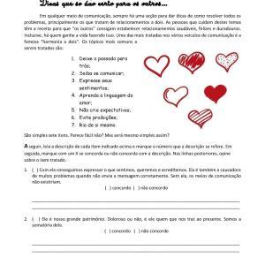 Nessa atividade de português para estrangeiros, os estudantes são convidados a refletir, comentar e dar dicas sobre relacionamento a dois.
