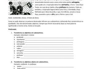 """A partir de um excerto de """"A pedra do reino"""" os estudantes de português para estrangeiros transformam adjetivos em substantivos e vice-versa."""