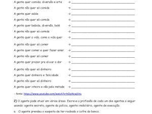 Folha de exercícios que esclarece as dúvidas sobre uso de a gente, há gente, agente, gente. Útil para aulas de português para estrangeiros e nativos.