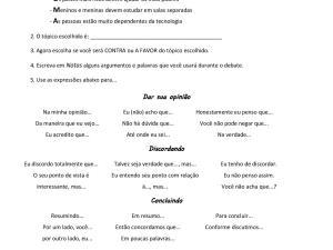 Atividade de português para estrangeiros, focada na habilidade oral de expressar opiniões, concordando ou discordando. Pode ser feita em duplas ou grupos.