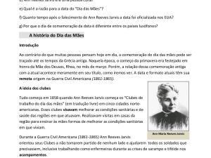 Atividade de interpretação de português para estrangeiros com a história desconhecida do Dia das Mães para os nível avançado: C1, C2