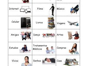 Atividade de português para estrangeiros para a prática de Palavras e Pronomes interrogativos com diversos tópicos de interesse.