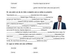 Atividade de leitura, interpretação e escrita no Presente do Indicativo de português para estrangeiros.
