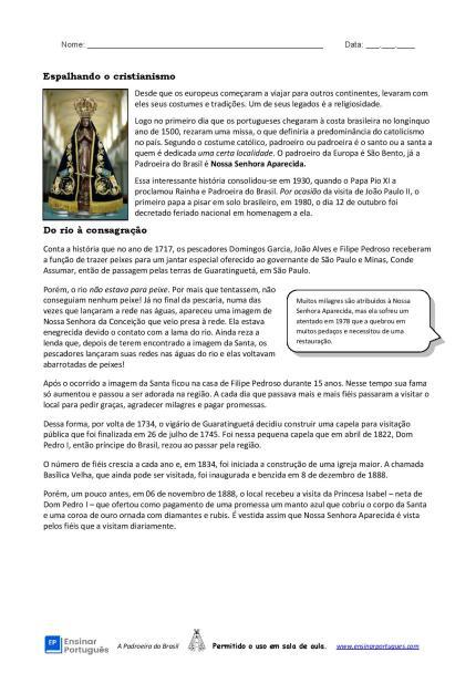 """Atividade sobre a Padroeira do Brasil focada em história, leitura e interpretação, além de exercícios com gabarito e a música """"Romaria""""."""
