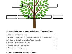 - Atividade auditiva para aulas de português para estrangeiros sobre família