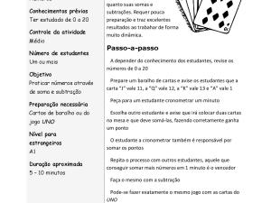 Jogo de cartas para práticas matemáticas simples: soma e subtração usando cartas de baralho ou UNO para complementar suas aulas de português.