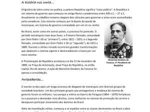 Atividade sobre a história da Proclamação da República no Brasil e sistemas de governo para suas aulas de português para estrangeiros.