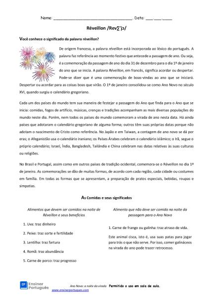 Atividade de português com interpretação de texto temática: sobre o Ano Novo e seus aspectos linguísticos, gastronômicos e culturais!