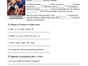 Folha de exercícios sobre presente do indicativo com conjugação verbal, interpretação de texto e gabarito