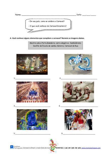 Atividade de interpretação com a história do Carnaval no Brasil para estudantes de português para estrangeiros, focada em vocabulário.