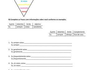 Atividade com a prática de advérbios de frequência e conjugação do presente do indicativo em duplas para as aulas de português
