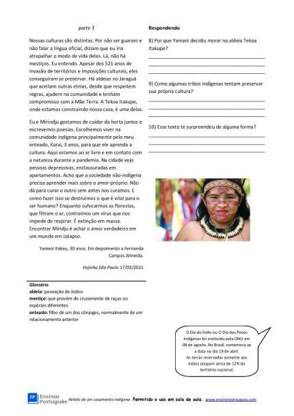 Atividade de texto sobre um casamento indígena para interpretação e enfoque em aspectos culturais, para estudantes C1 e C2