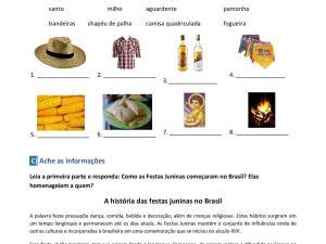 Nessa atividade sobre a Festa Junina no Brasil, vocabulário, interpretação e um pouco de gramática são abordados para complementar suas aulas
