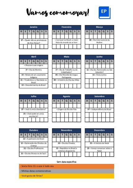 Livro de Atividades sobre Datas Comemorativas para complementar suas aulas durante o ano inteiro com as mais importantes para diversos níveis