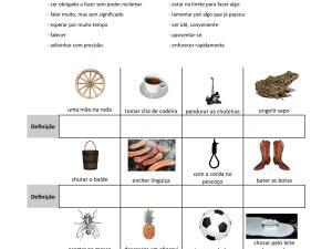 Atividade para aprender e praticar um aspectos cultural das línguas: expressões idiomáticas, com exercícios para aulas de português.