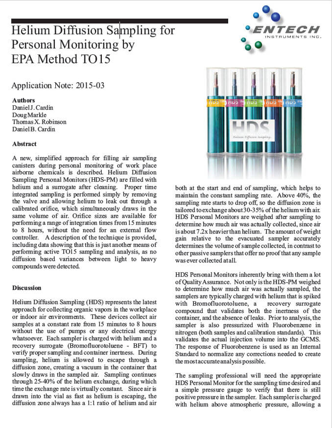 Helium Diffusion Sampling for Personal Monitoring by EPA