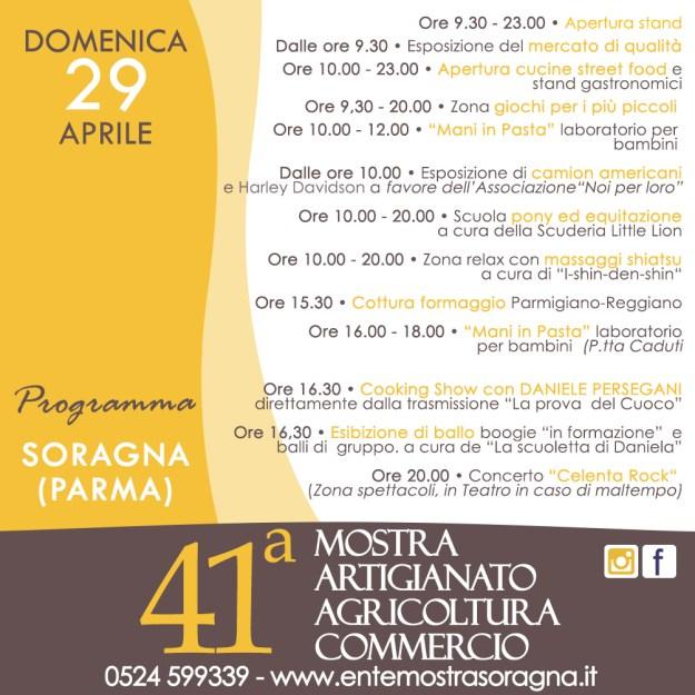 Programma 29 aprile mostra dell'artigianato soragna
