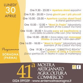 Programma lunedì 30 aprile mostra dell'artigianato soragna