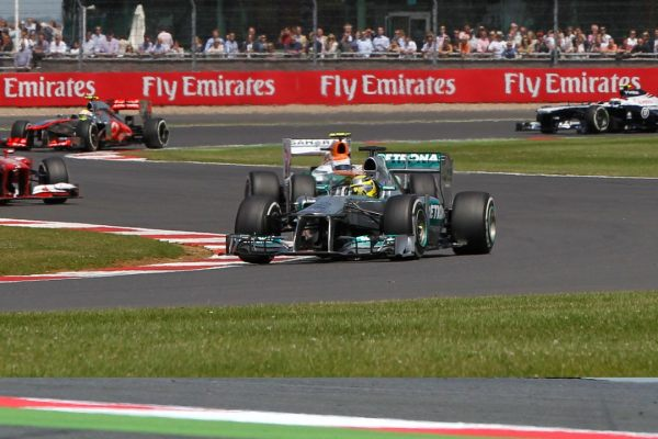 Nico leading the pack at Silverstone
