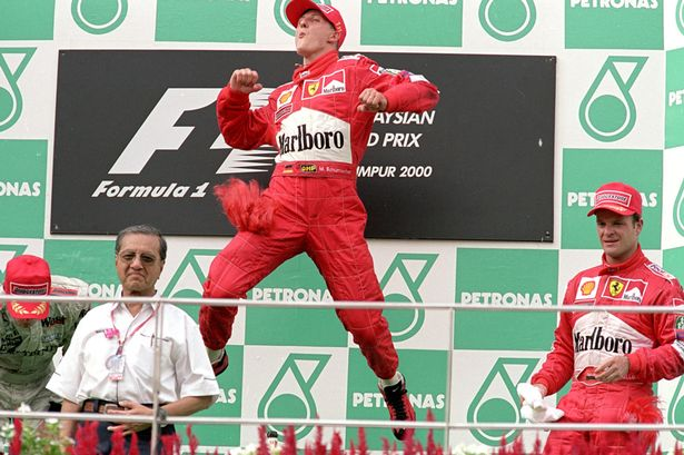 The Schumi victory leap!
