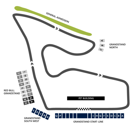 Clear circuit map for the Red Bull Ring in Austria